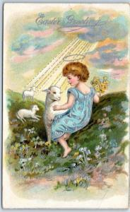 Vintage Holiday Embossed Postcard Angel Girl / Lamb & Yellow Flowers 1910 Cancel