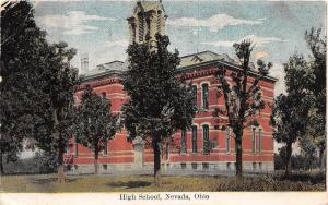 E15/ Nevada Ohio Postcard 1908 High School Building
