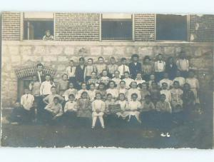 rppc c1910 Abstract Photo Bomb PERSON AT WINDOW SNEAKS INTO CLASS PHOTO AC8749