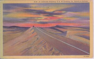 CALIFORNIA HIGHWAY US 80 - View shows road through the American Sahara, 1930/40s