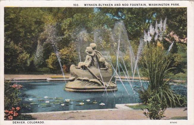 Colorado Denver Wynken-Blynken and Nod Fountain Washington Park Curteich