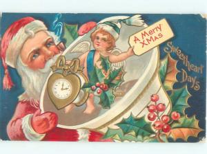 Pre-Linen Christmas SANTA CLAUS WITH CUPID AB4449