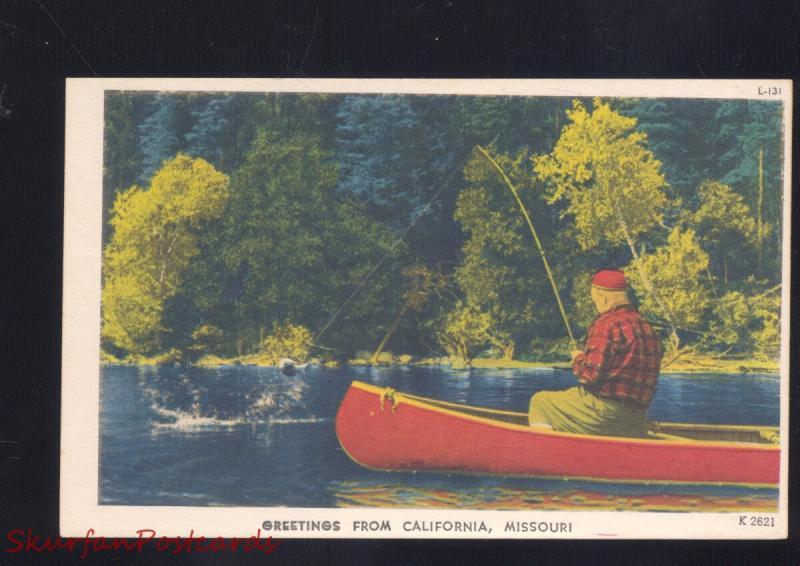 Greetings from california missouri fishing vintage linen postcard mo greetings from california missouri fishing vintage linen postcard mo m4hsunfo