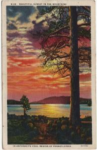1936 Beautiful Sunset Mountains PA Anthracite Coal Region Pennsylvania Postcard