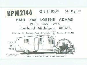 CAMPING TRAILER - QSL CB HAM RADIO CARD Portland Michigan MI W5497