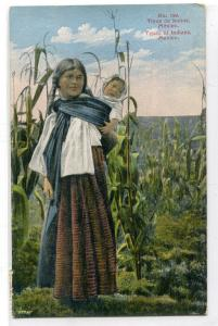 Indian Mother & Baby Mexico 1935 postcard