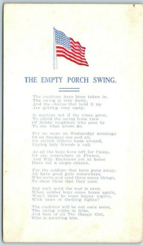 Vintage 1910s Wwi Patriotic Postcard The Empty Porch Swing