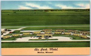 Mexico, Missouri Postcard AIR PARK MOTEL Tourist Court Roadside Linen c1950s