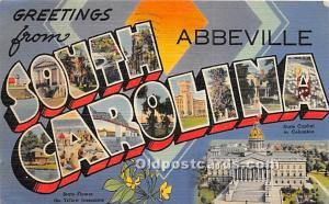 Greetings from, Linen Abbeville, South Carolina, SC, USA Large Letter 1945 li...