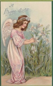 EASTER; A Happy Easter, 1900-10s; Angel & Flowers, TUCK # 1040