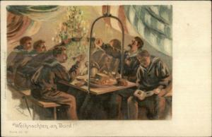 German - Christmas on Board Navy Ship Weihnachten LINDNER c1900 Postcard