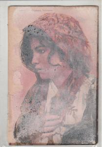 Sicilian girl ethnic type damaged early postcard