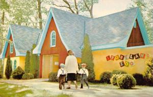 South Bend Indiana~Story Land Zoo Entrance~Color Block Letters~Mom & Boys~1950s