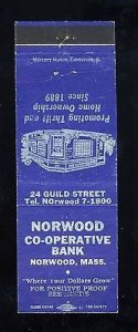 Norwood Co-Operative Bank Match Cover, Norwood, Massachusetts/MA, 1950's?