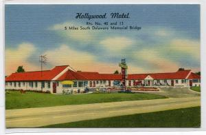 Hollywood Motel New Castle Delaware linen postcard