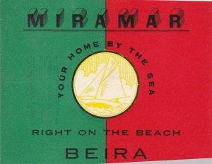 Mozambique Beira Miramar Hotel Vintage Luggage Label sk3523