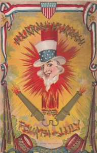 FOURTH of JULY , 1900-10s ; Uncle Sam & Firecrackers exploding