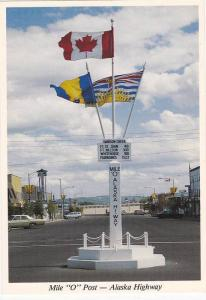Mile 0 Post, Starting point of the world famous Alaska Highway, British Col...