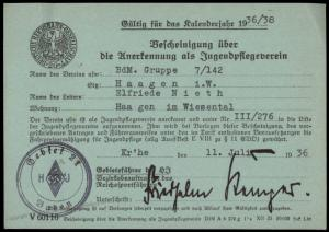 3rd Reich Germany WWII Hitler Youth Karlsruhe Membership Revenue Card 77198