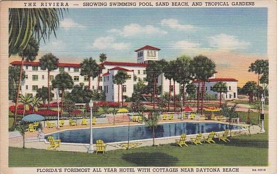Florida Daytona Beach The Riviera Showing Swimming Pool Sand Beach And Tropic...