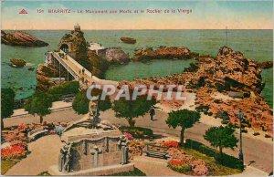 Old Postcard Biarritz War memorial and the Rock of the Virgin