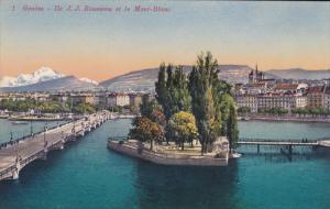 Geneve , Switzerland, 00-10s ; Ile J.J. Rousseau et le Mont-Blanc