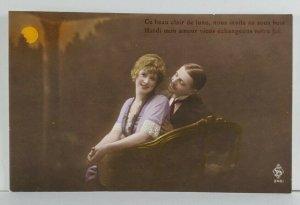 Rppc Beautiful Edwardian Couple Under Orange Moon Pretty Smiles Postcard Q6