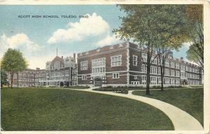 Toledo Ohio~Scott High School Side View and Trees and Lawn 1916 Postcard