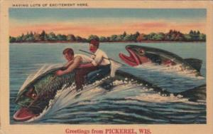 Wisconsin Greetings From Pickerel Men Riding Giant Fish Exageration