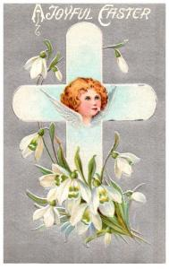 Easter,  Cross with flowers , Angel