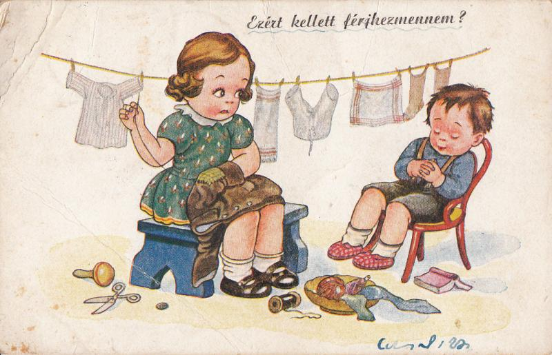 Children humour postcard Hungary girl sewing clothes / lazy boy / caricatures