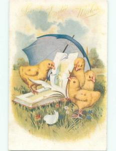 Pre-Linen Easter CUTE CHICKS UNDER UMBRELLA LOOKING AT BOOK AB3936