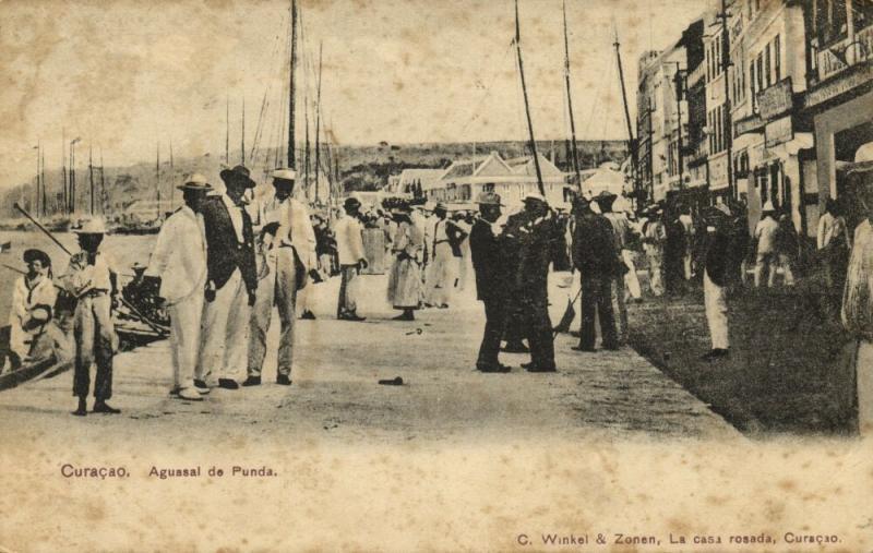 curacao, N.W.I., WILLEMSTAD, Aguasal de Punda (1905) Winkel & Zonen