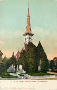 Tacoma Washington~St Luke's Church~Tall Spire~Ivy Covered~Homes~1905 EH Mitchell