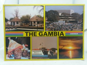 Vintage Multiview Postcard The Gambia Tendaba Camp Maccarthy Square Banjul Ferry