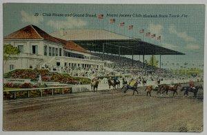 VTG Postcard Club House Grand Stand, Miami Jockey Club, Hialeah Race Track, FL