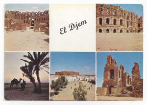 Tunisia El Djem Roman Ruins 1965 Multiview Postcard Sc 357