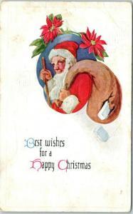 Vintage Christmas SANTA CLAUS Postcard Beard / No Mustache, Bag of Toys c1910s