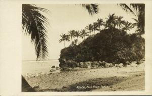 samoa, PAGO PAGO, Beach Scene with Palm Trees (1910s) RPPC