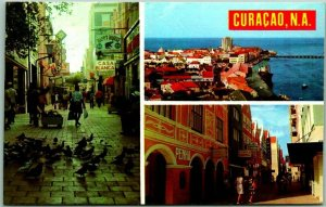 CURACAO Dutch West Indes Postcard Multi-View Street Scenes w/ St Marteen Stamp