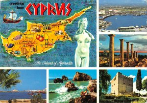B108871 Cyprus Forum Ruins Map Panorama Harbour General view