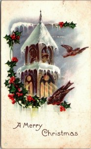 A Merry Christmas with church and bell and holly BIRD - POSTCARD PC POSTED