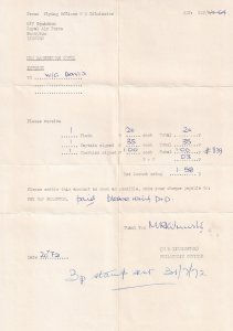 617 Squadron Flying Officer 1972 Dambuster Stamps Receipt