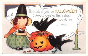 Halloween Post Card Old Vintage Antique Whitney Made Unused