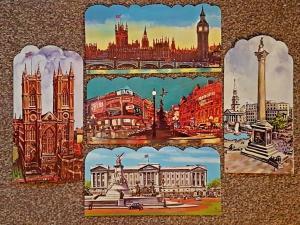 Set of 5 Large Format Die-Cut London Art Postcards, Famous Landmarks NEW