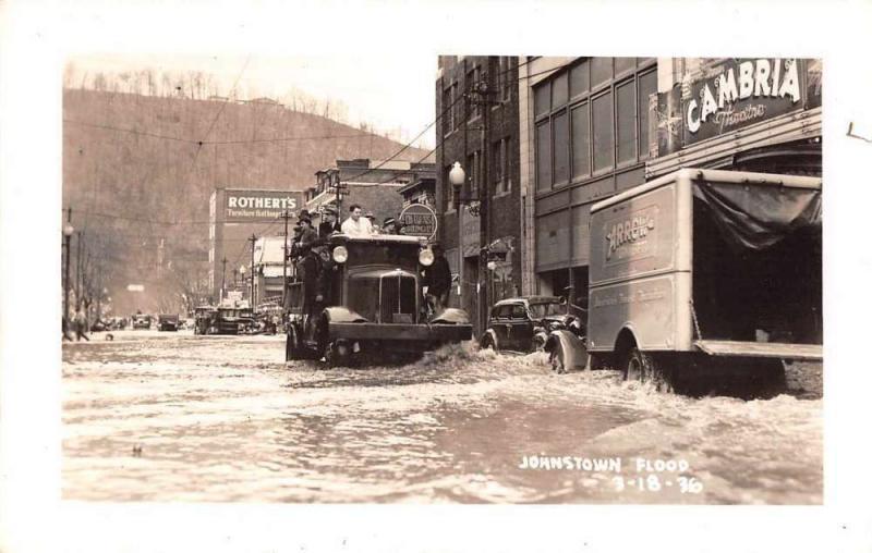 Johnstown Pennsylvania Flood Trucks in Street Real Photo Postcard JA455357