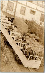 1930s Colorado RPPC Real Photo Postcard Mt. Manitou Incline Railway / Tourists