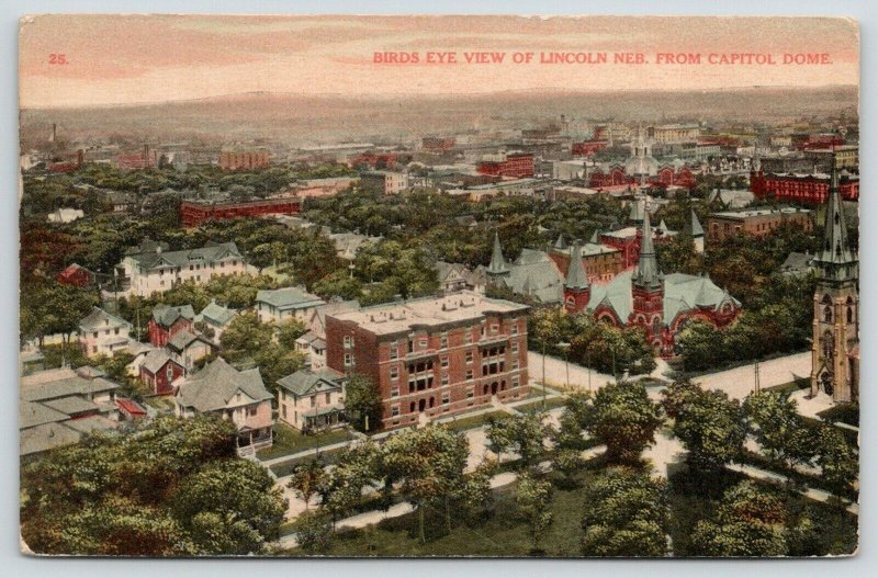 Lincoln Nebraska~Birdseye View from Capitol Dome Overlooking City~1908