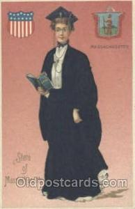 Massachusetts, USA Silk, State Girl Postcard Postcards Langsdorf, Silk Card M...