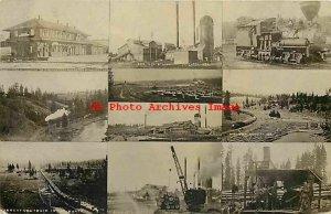ID, Potlatch, Idaho, RPPC, Depot, Logging Mill, Train, Multi-View, 1918 PM,Photo